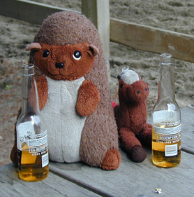 Hedgy and Silky enjoy their Coronas.